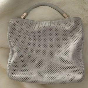 YSL white perforated leather handbag